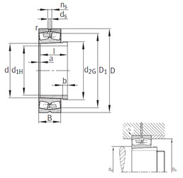 Bantalan 23052-K-MB+AH3052 FAG